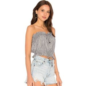 Free People Peppermint Tube Top In Navy
